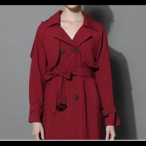 Like NWT Chicwish burgundy/red wine trenchcoat